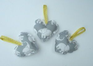 Baby Girl BOY Nursery Grey Yellow Elephant 3 Hanging Hearts Yellow DOT Ribbon | eBay