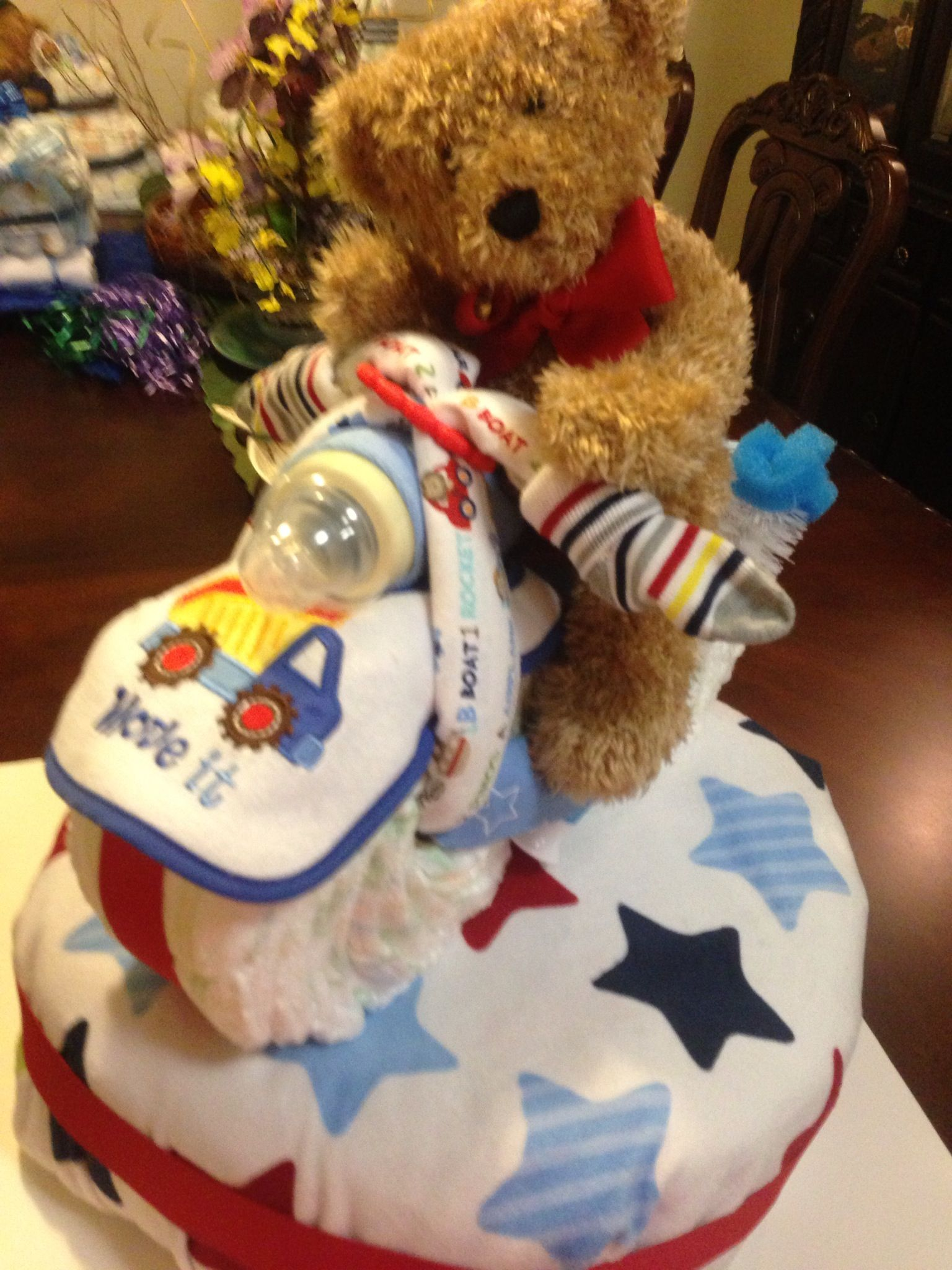 Diaper cake stand with motorcycle diaper diaper cake cake