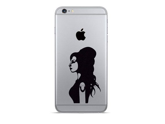 Amy winehouse iphone 6 decals iphone 7 plus stickers music decal black fabric stickers jazz lover gift galaxy phone sticker