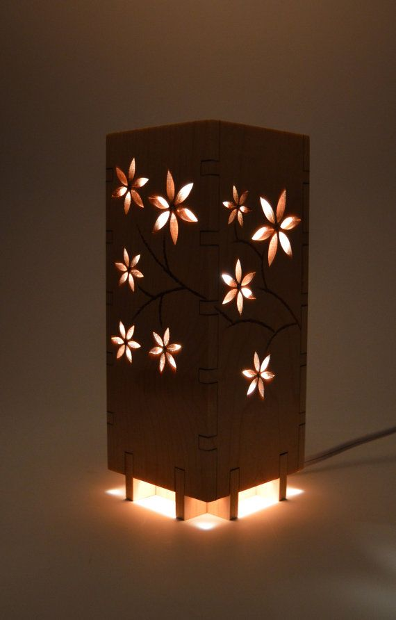 Small Flower Night Light Lamp Modern Lamp Wood Light Fixture