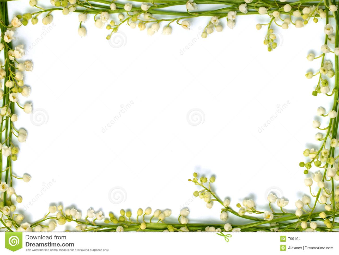 Lily Of The Valley Flowers On Paper Frame Border Isolated Horizo