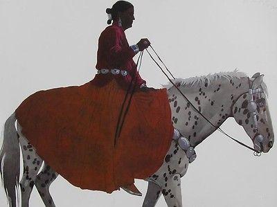 Louis De Mayo Native American Woman Appaloosa Horse Signed Framed ...