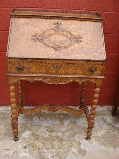 American Antique Victorian Break Front Secretary Desk Furniture
