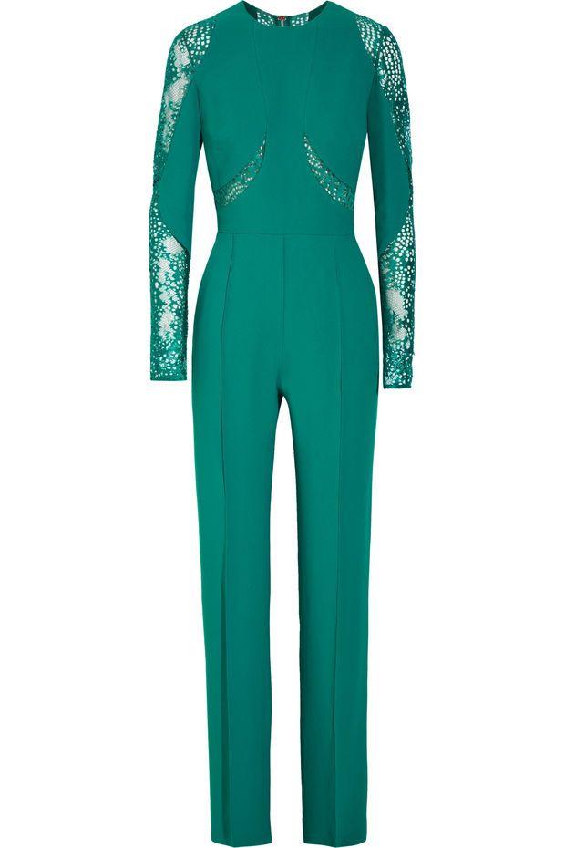 Elie Saab - Lace-paneled crepe jumpsuit