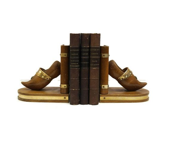 Clog Bookends. Vintage Wooden Bookends. French Bookends. Wood Book Ends. Desk Accessory. Vintage French Copper Book Ends.
