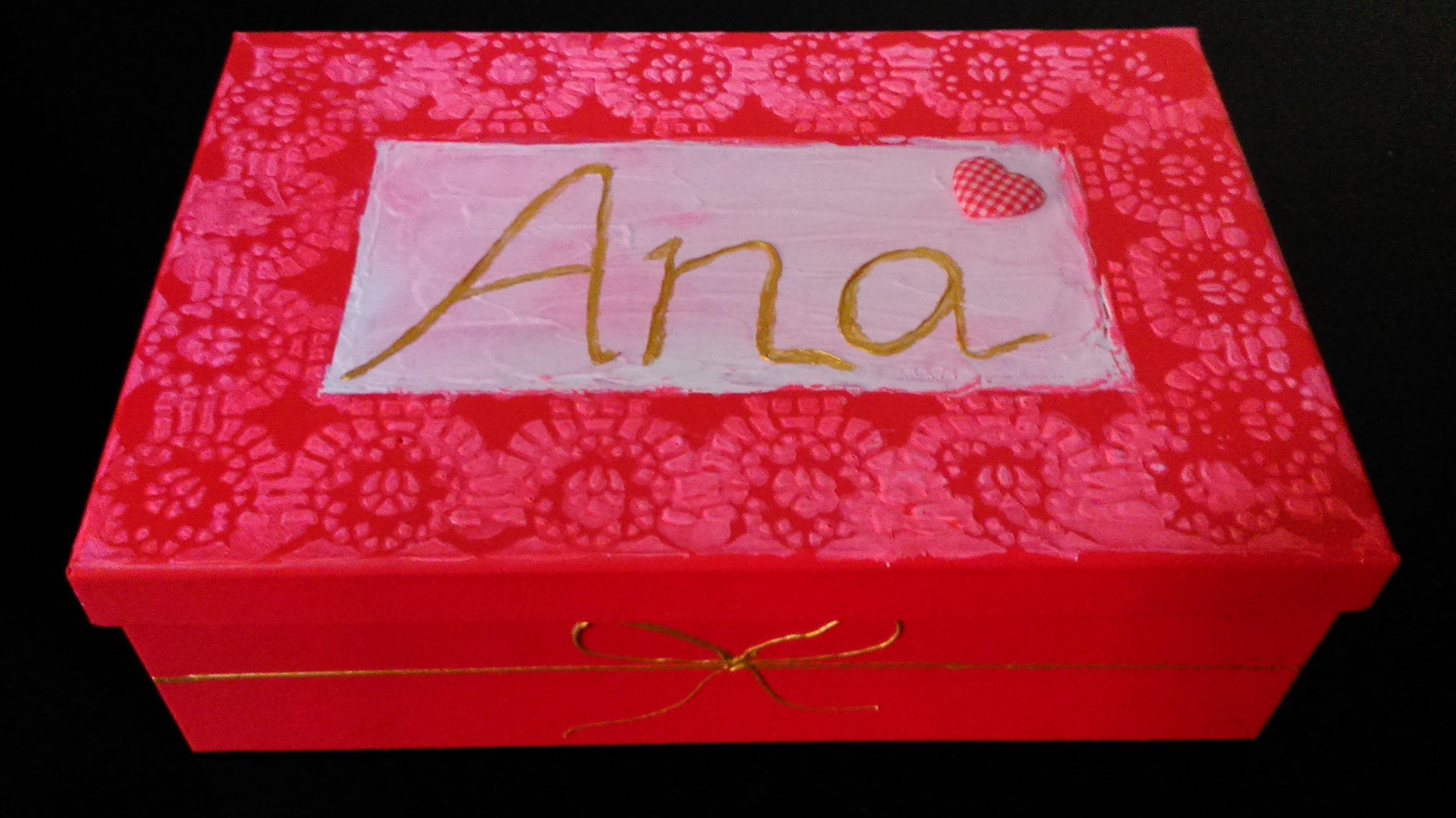 Caja De Cart N Pintada En Tono Rojo Mis Cajas Decoradas De  ~ Cajas De Carton Decorativas Grandes