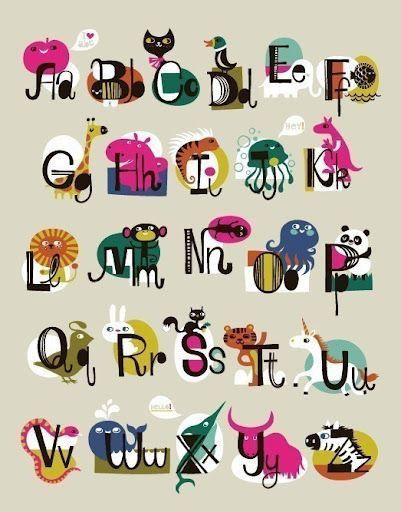 Abecedario En Ingles Con Animales Para Imprimir Alphabet Illustration Alphabet Print Alphabet Art