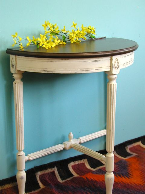 Demi-lune Table In ASCP Old White, Top Done In Benjamin