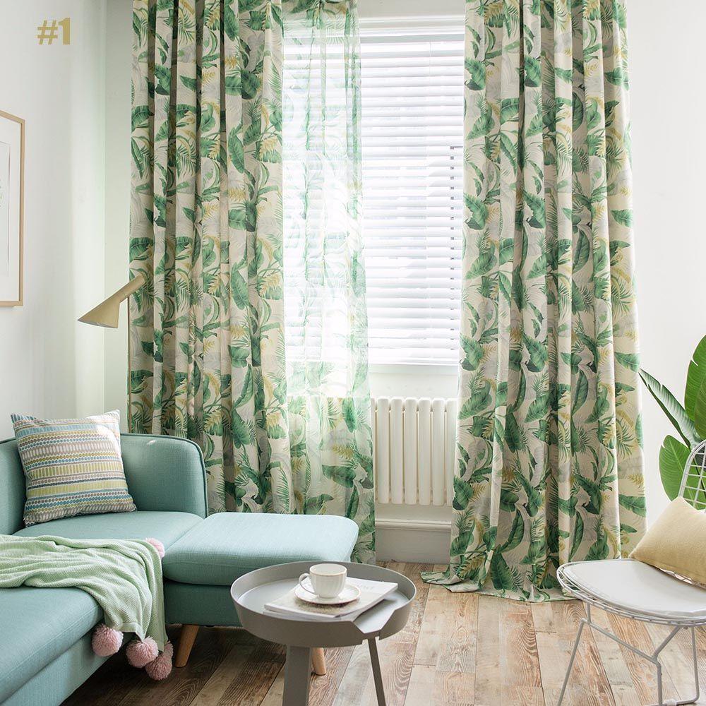 Minimalismus Vorhang Gross Grun Blatter Design Im Wohnzimmer Zu Gunstigen Preisen Kaufen Printed Curtains Country Style Living Room Colorful Curtains Living room curtains fabric