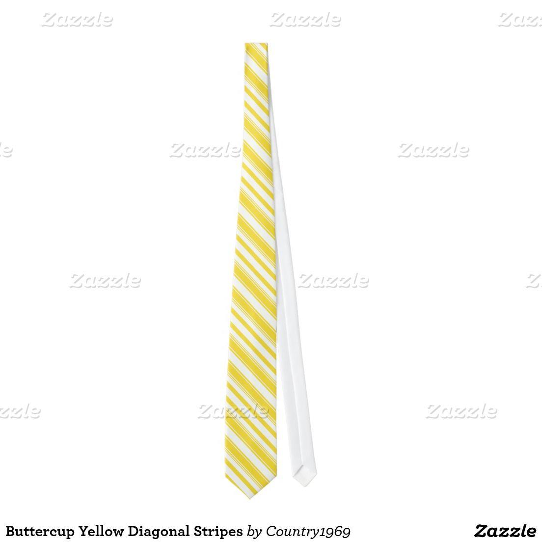 Buttercup Yellow Diagonal Stripes Tie