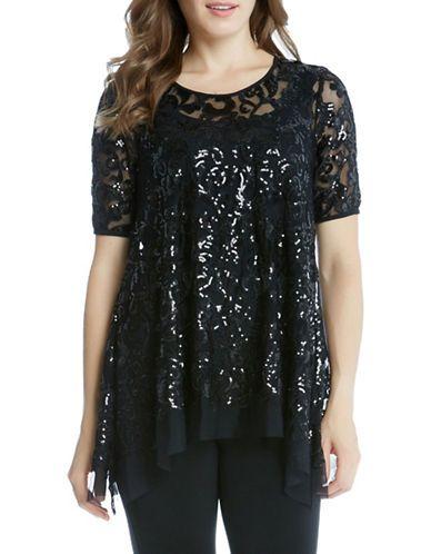 Karen Kane Sequin Embellished Short Sleeve Top Women's Black Large