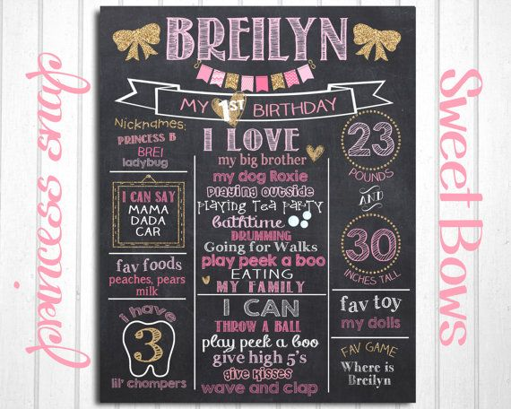 Bows First Birthday Chalkboard Poster  Girl Pink by PrincessSnap