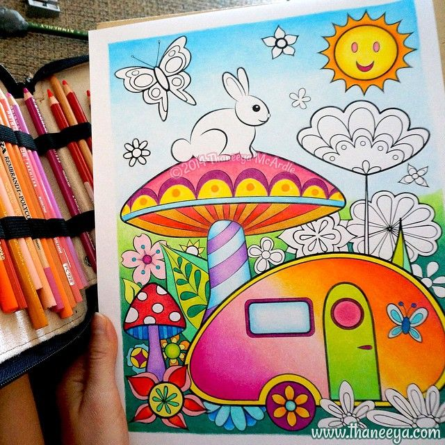 Coloring is fun! This is is a page from my upcoming Happy Campers Coloring Book, which I colored with Prismacolor colored pencils. This coloring page provided a wonderful opportunity to blend the colored pencils into nice gradients.