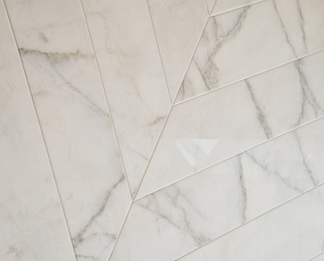 A beautiful marble chevron flooring detail at our egerton crescent