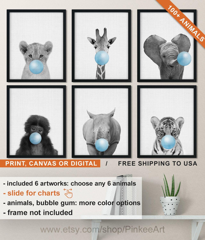 Rhino Bubblegum Safari Nursery Peekaboo style wall art print Framed unframed