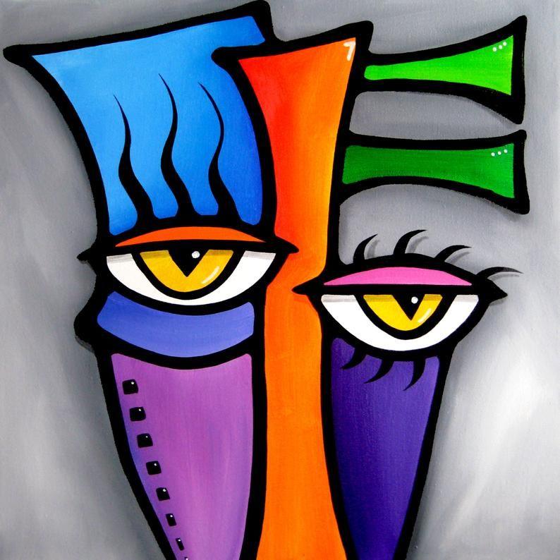Abstract face canvas print original modern pop art
