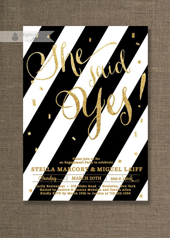 Gold Glitter Engagement Party Invitation Black White Stripes - free engagement party invites