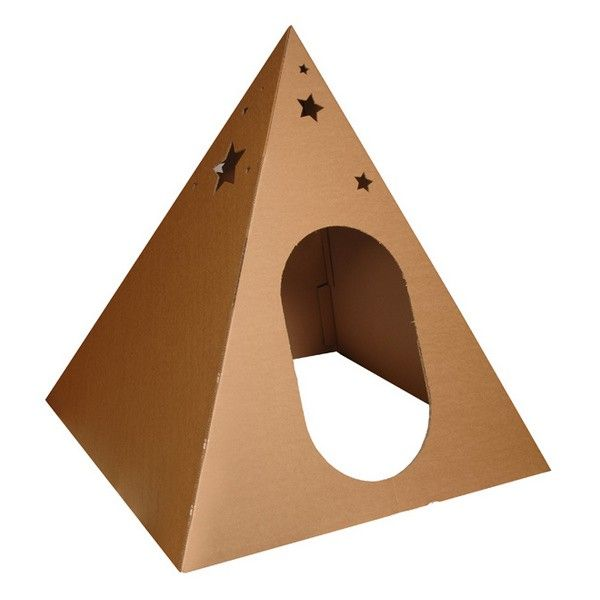 The Learning from Play Pyramid is constructed from environmentally friendly durable corrugated cardboard and is designed for indoor use only.