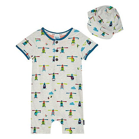 5e1559ab16a1 Baker by Ted Baker Baby boys  multi-coloured helicopter print romper suit  with a hat