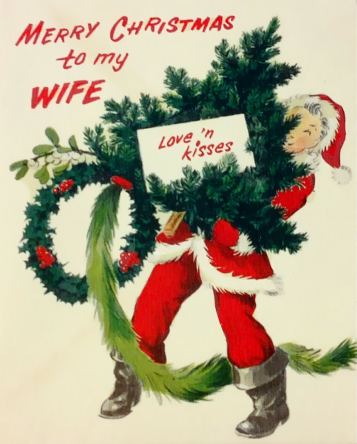 Vintage 1940s Pop Up Merry Christmas Card For Wife By Norcross