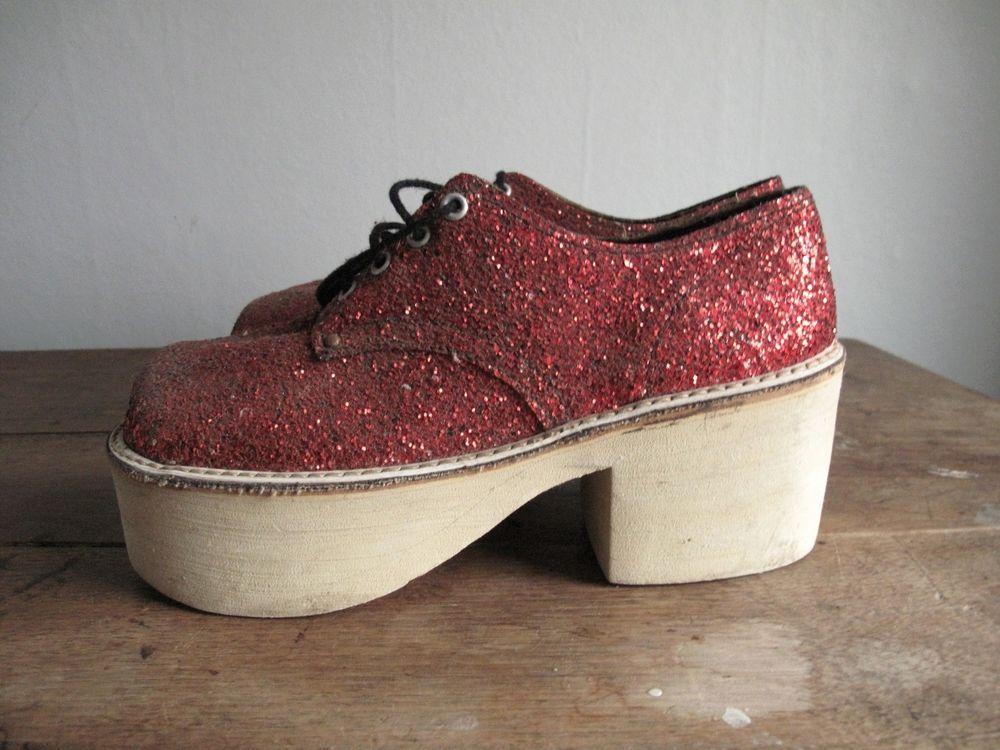 1970s Red Glitter Disco Platform Shoes