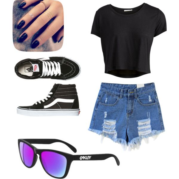 Summer Fun by luluheiz on Polyvore featuring polyvore fashion style Pieces Oakley Vans Lottie