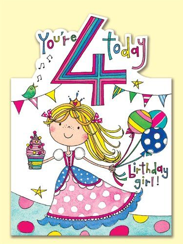 Rachel Ellen Age 4 Princess Birthday Card Amazoncouk Office Products
