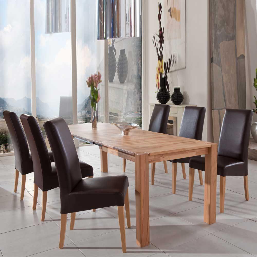 Esstisch mit 6 Stühlen aus Kernbuche Massivholz Natur lackiert (7 ...