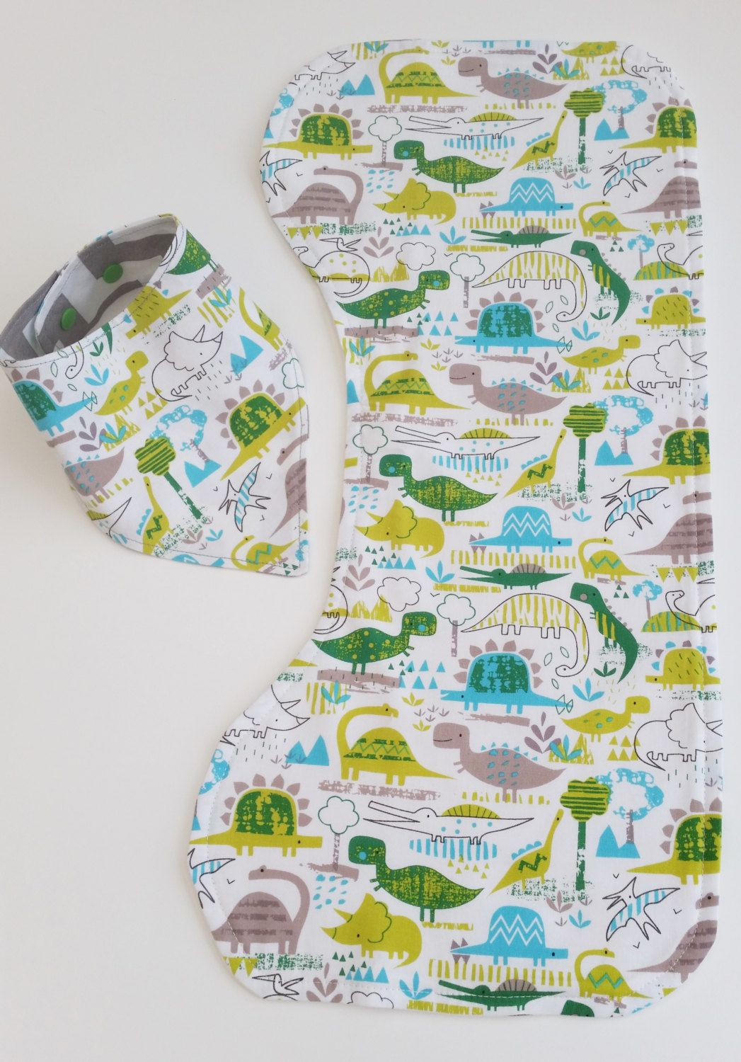 Baby Dinosaur & Chevron Fabric Bandana Dribble Bib and Matching Birp ...