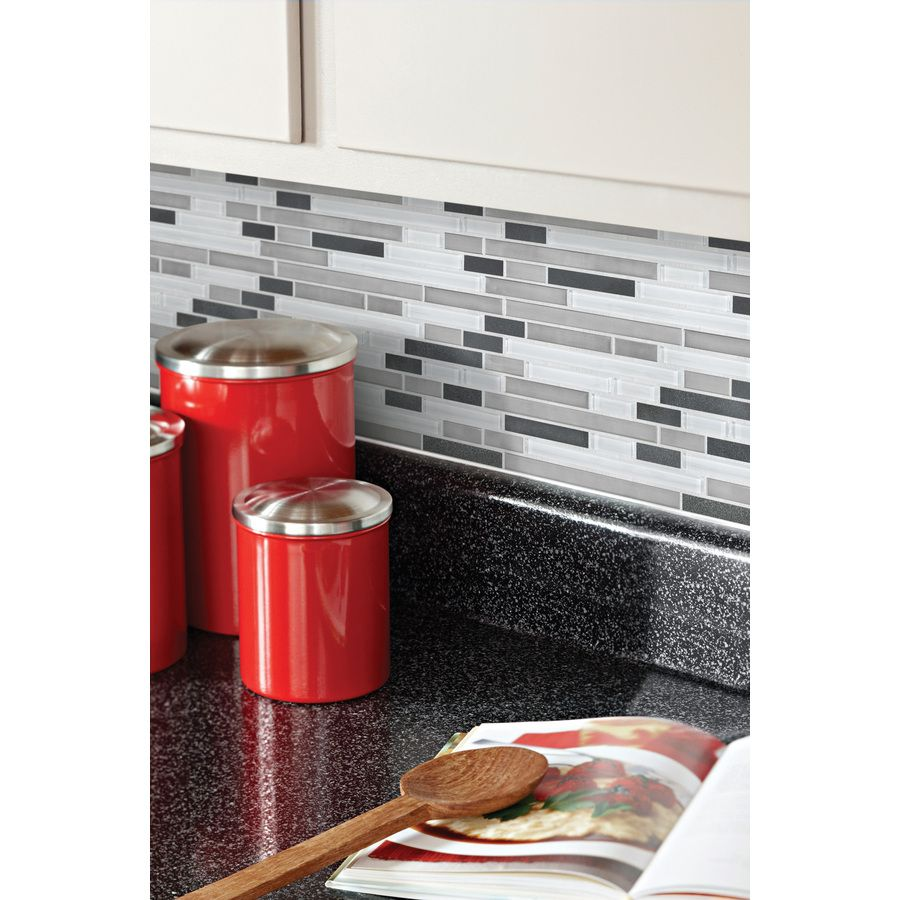 kitchen backsplash- Shop allen + roth Glacier Links Mixed Material ...