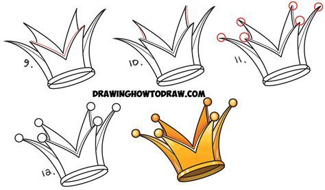 How To Draw A Crown Drawing Cartoon Crowns Easy Step By