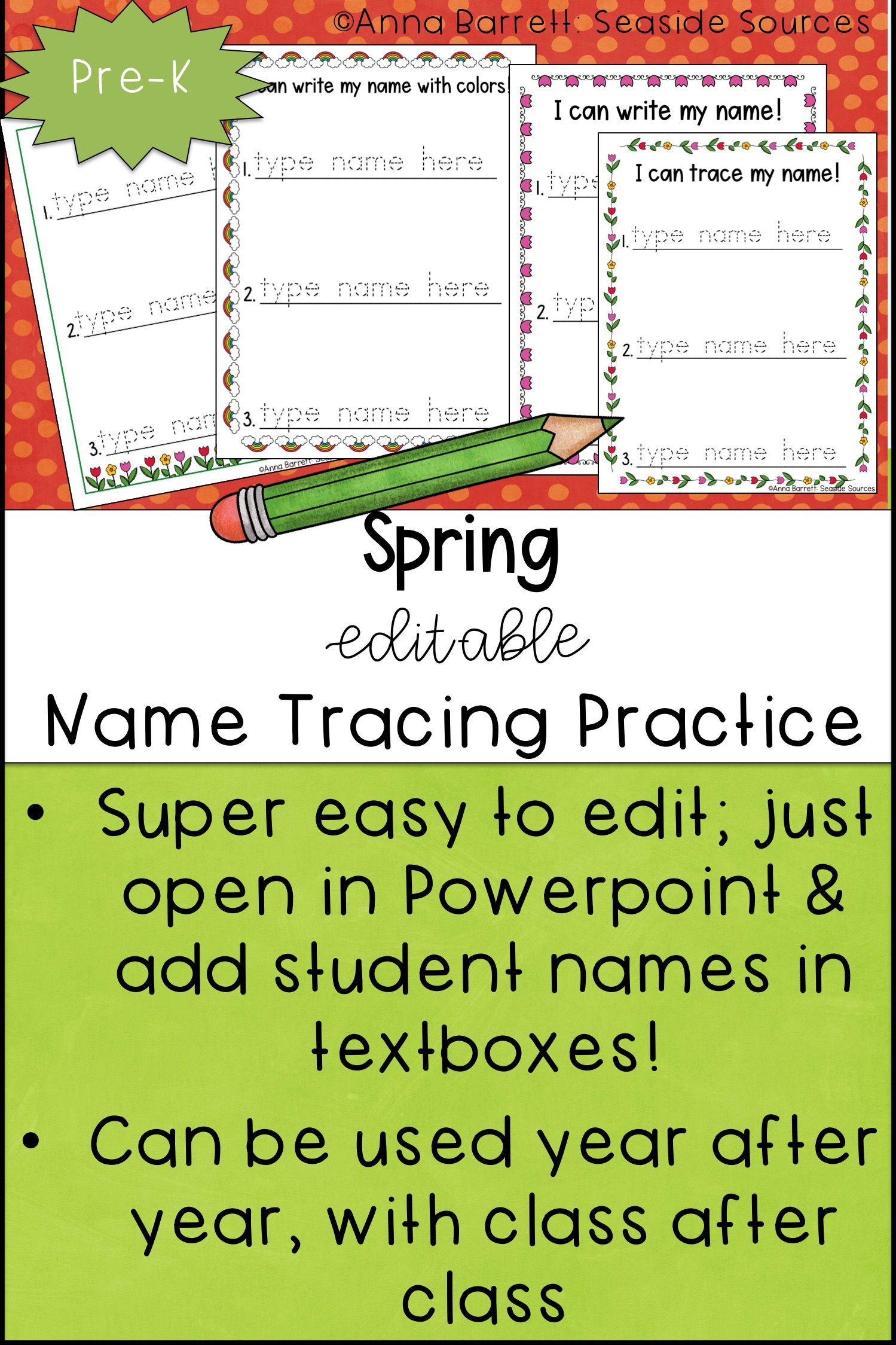Spring Editable Name Tracing Practice | Writing practice, Tracing ...