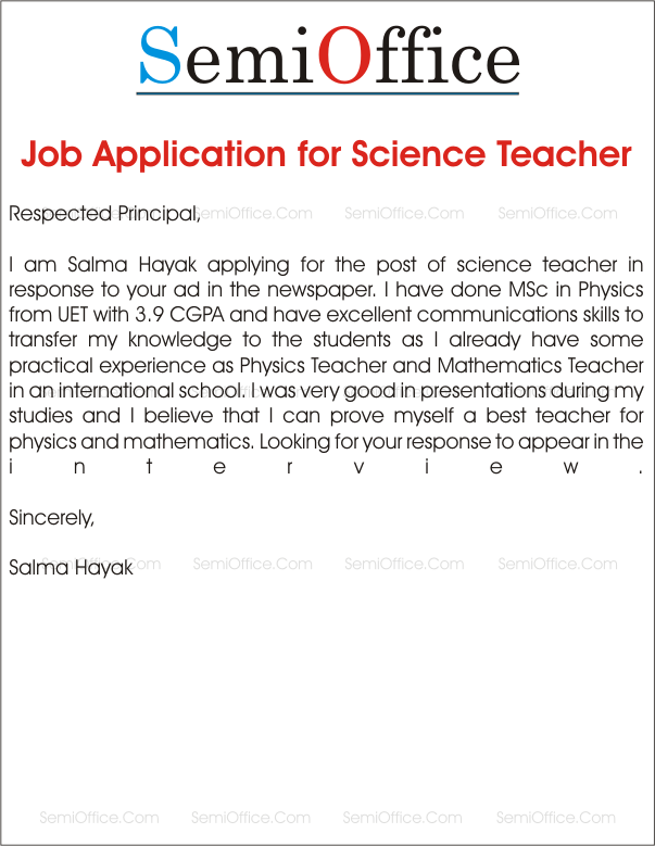 job application for science teacher job application example email application cover letter teacher