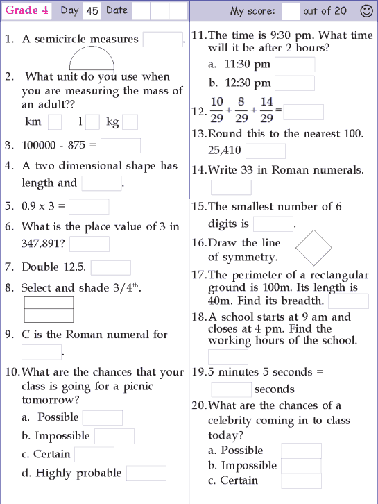 Worksheets Maths For Grade 4 grade 4 mathematics reocurent maths reocurent