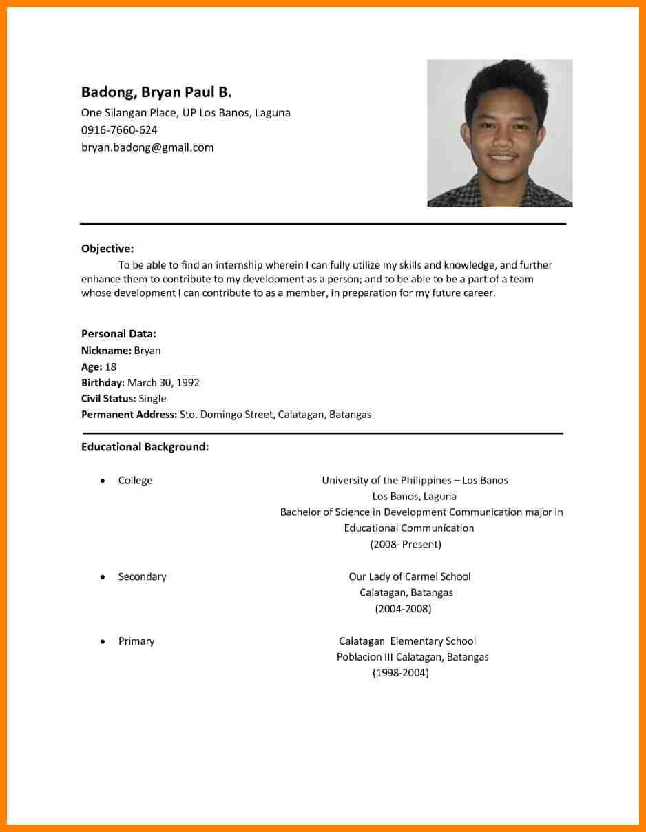 Basic Resumes Examples 2019 Simple Resumes Examples 2020