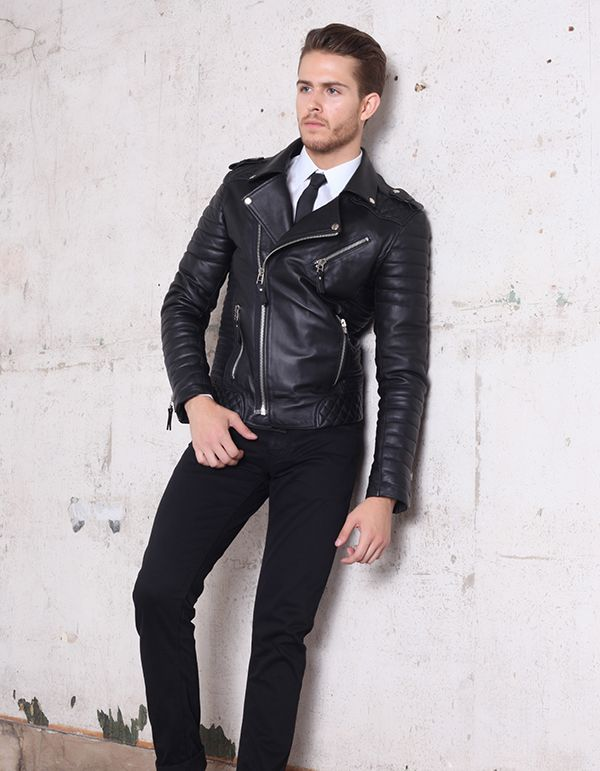 Mens Quilted Designer Black Boda Biker Leather Jacket