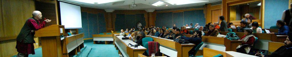 Audience arrives to Irish Film Festival of India screening at Gulmohar Hall, India Habitat Centre, New Delhi