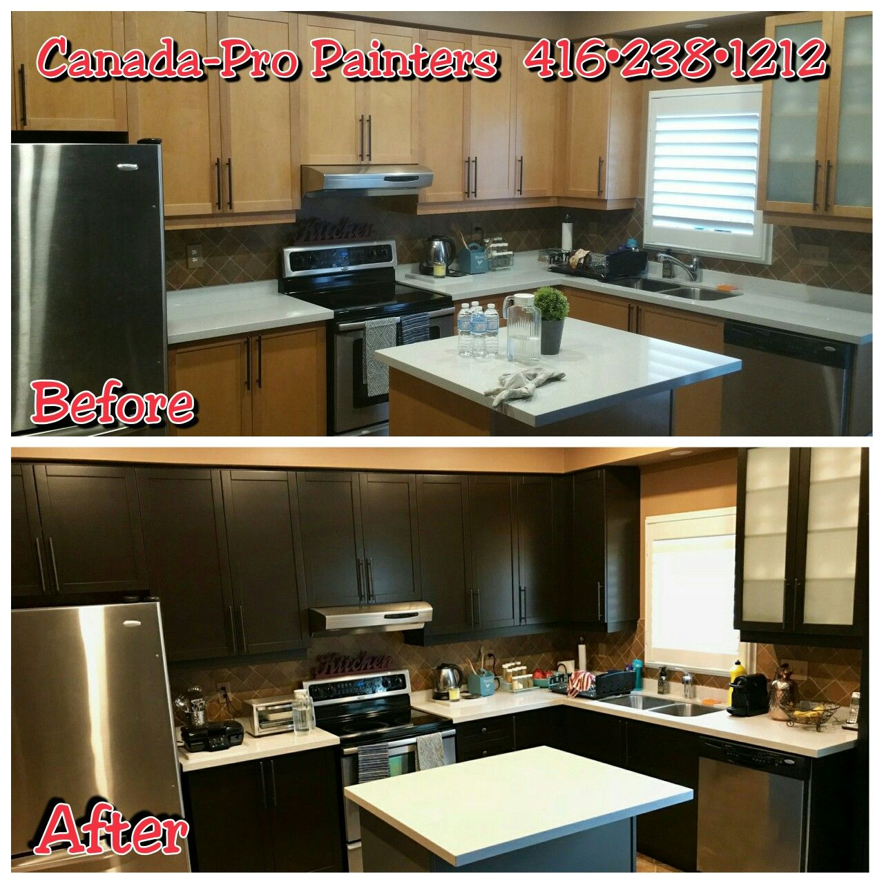 Before and After. Kitchen Cabinets Makeover. Maple honey ...