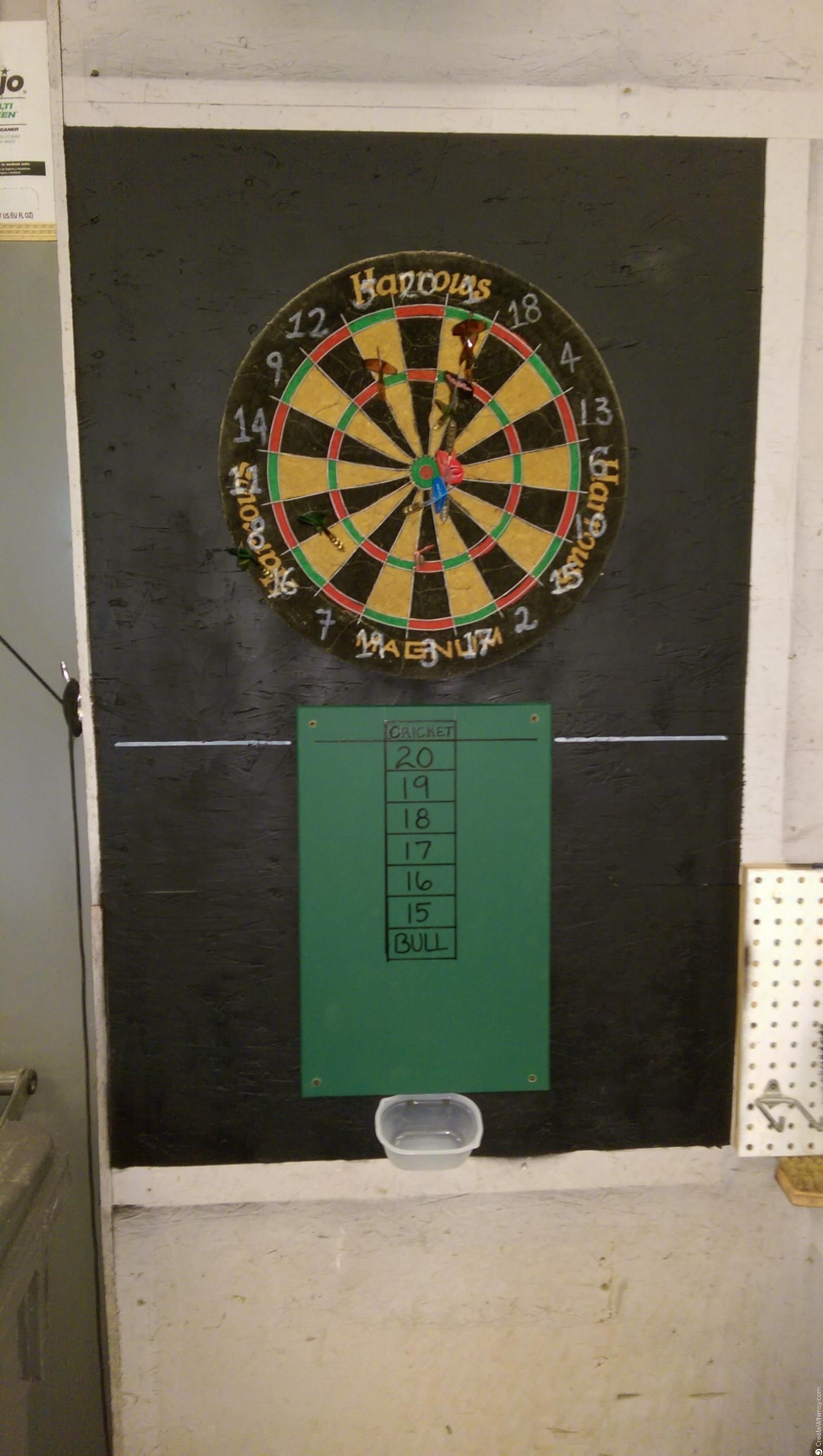 Make your own dart board! Cricket score board, chalk cup