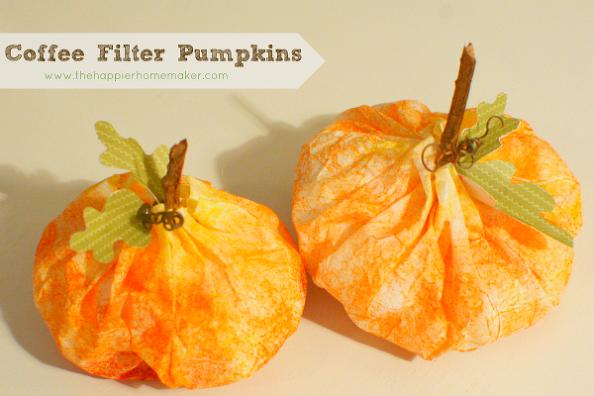 coffee filter pumpkins, crafts