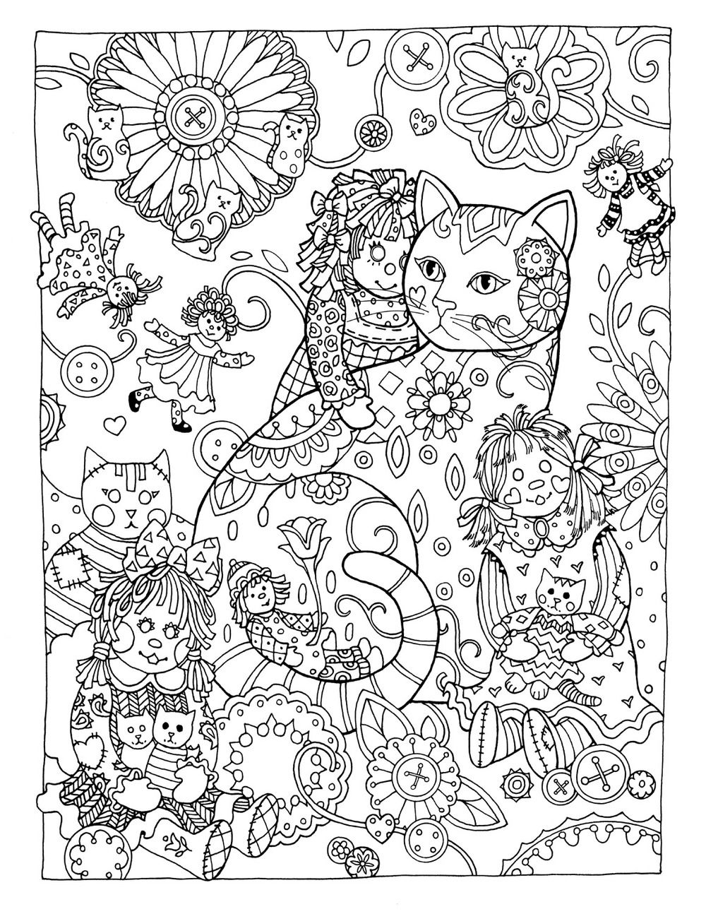 Childrens coloring sheet of a rag doll - Creative Cats Colouring Book Rag Dolls By Marjorie Sarnat