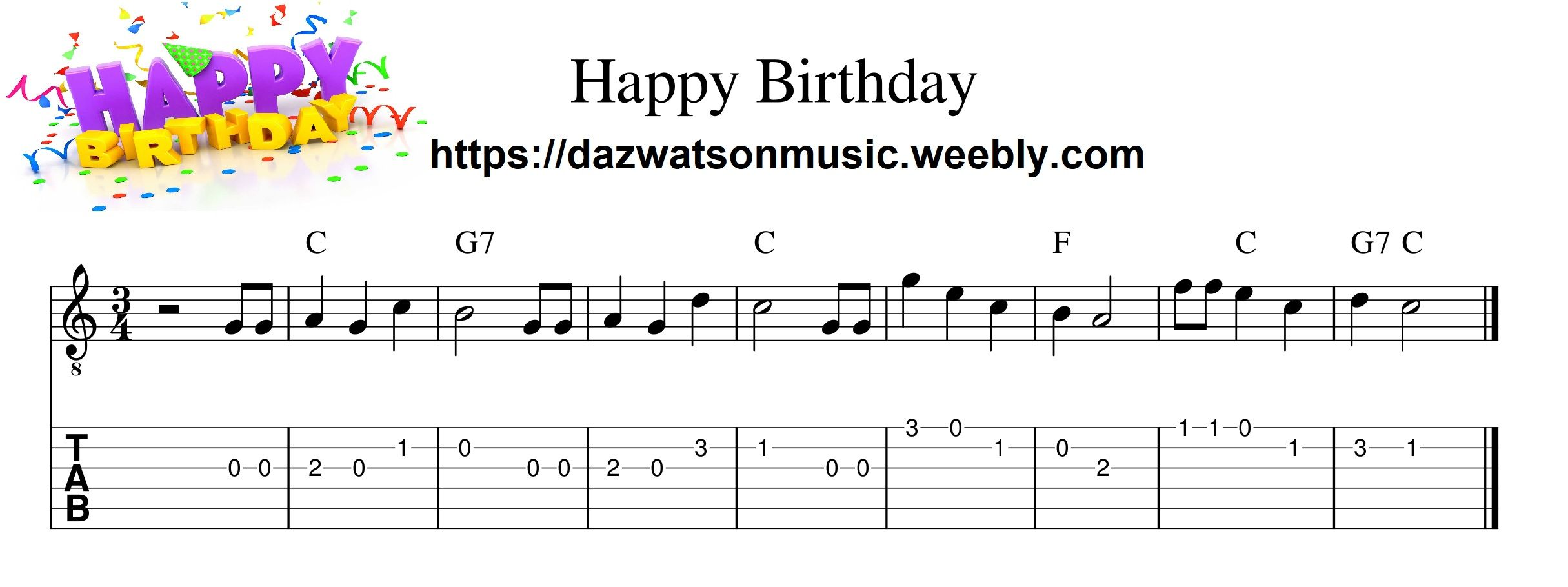 Happy birthday easy childrens guitar tab easy guitar