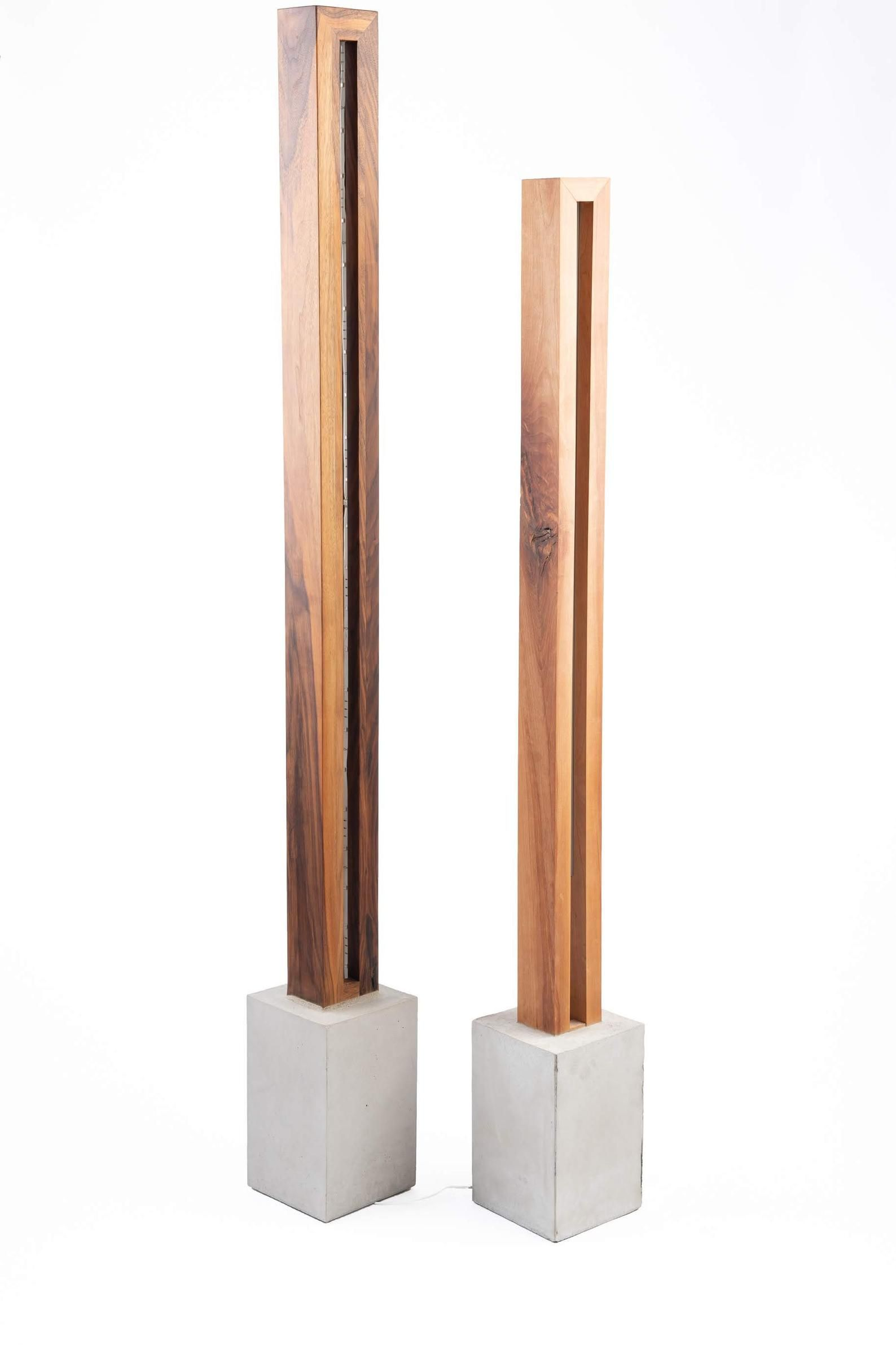 Wood Amp Light Sculpture Floor Lamp With Images Light Sculpture Concrete Light Floor Lamp