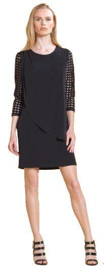 Clara Sun Woo Perforated Sleeve Soft Knit Black Dress $132
