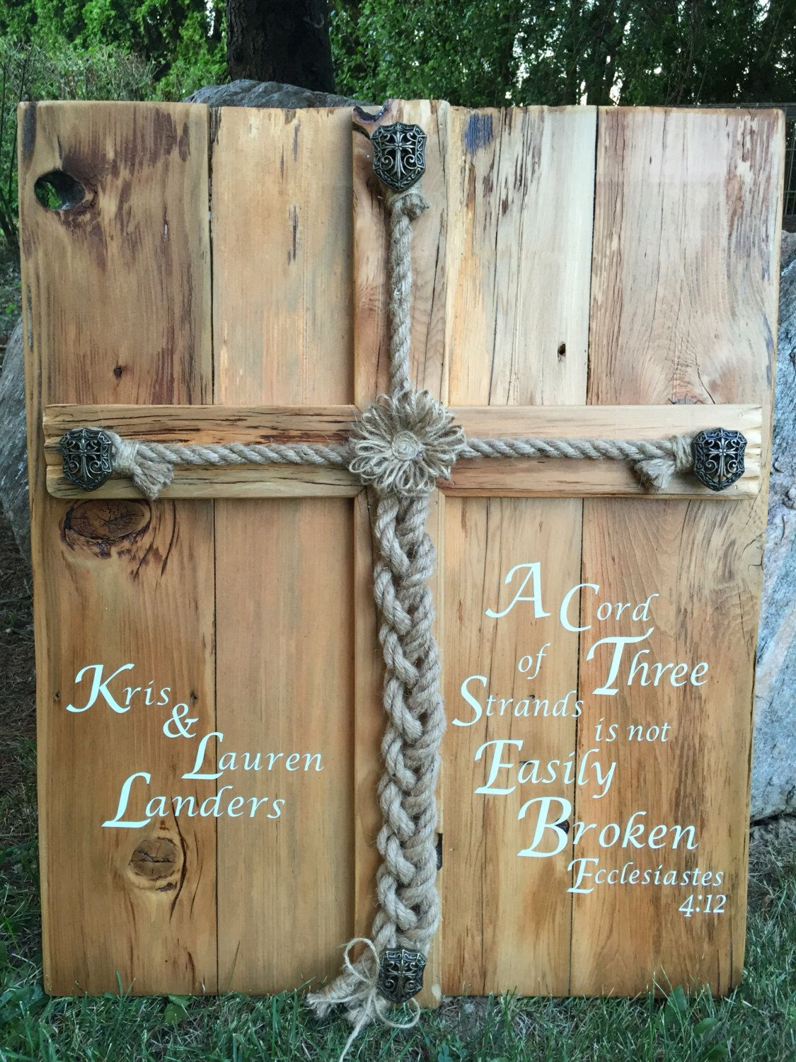 Personalized Rustic Wedding Alternative Unity Ceremony Idea Jute Braided Rope Sign Cord Of Three Scripture Ecclesiastes