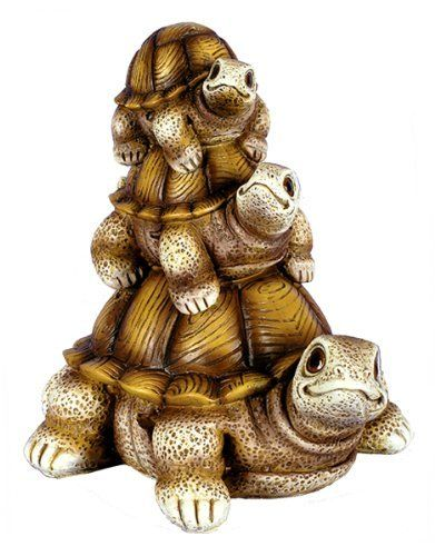 """8"""" Brown 'Stacked' Garden Turtle Yard Home Decor . $16.99. 7"""" l x 6"""" w x 8"""" h. Resin turtle figure. Painted a golden brown. Great indoors or outside. Resin turtle figure makes a nice addition to your garden or home decor. It is painted a golden brown color."""
