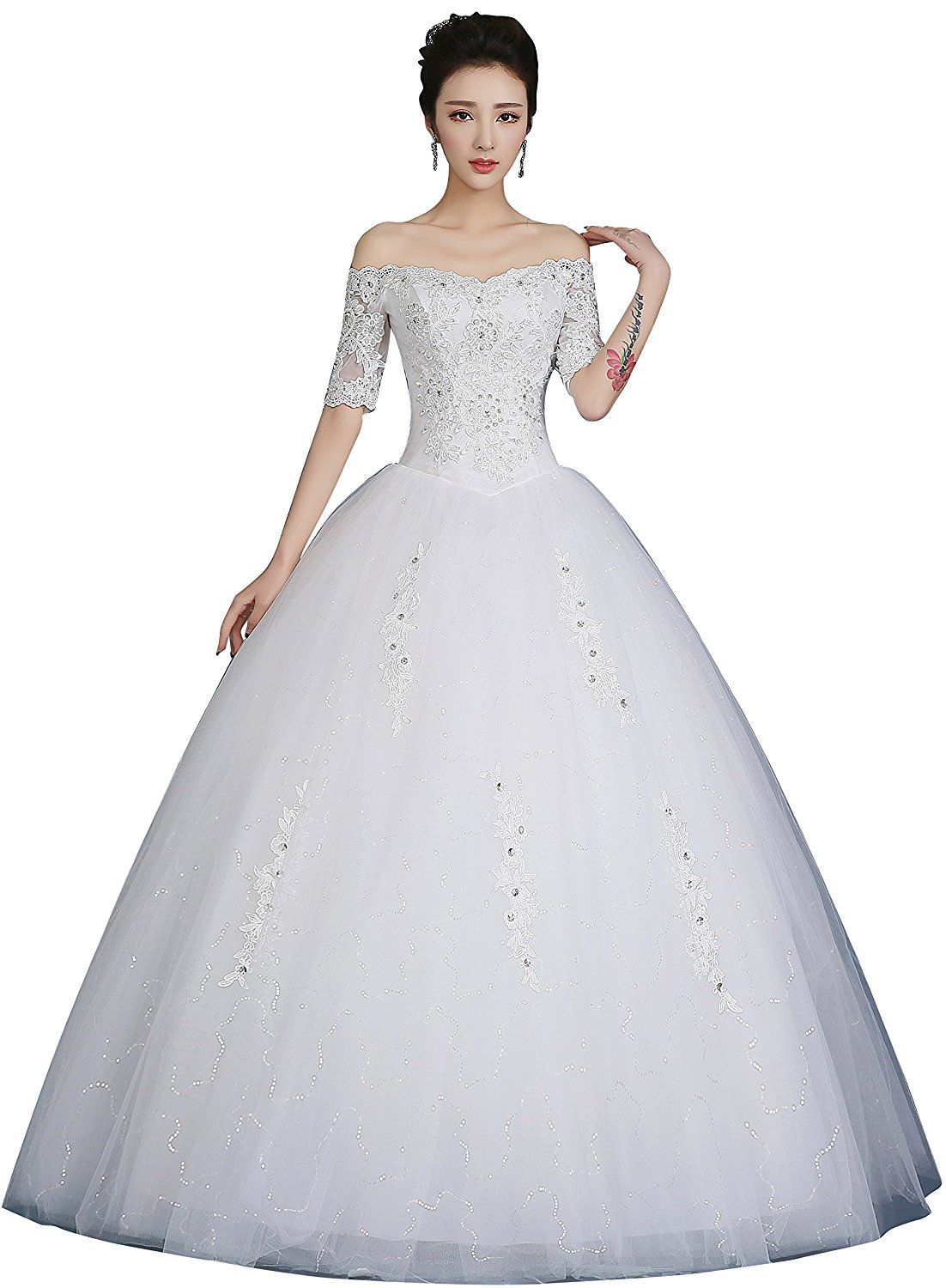 Obqoo off shoulder half sleeves lace beaded ball gown wedding