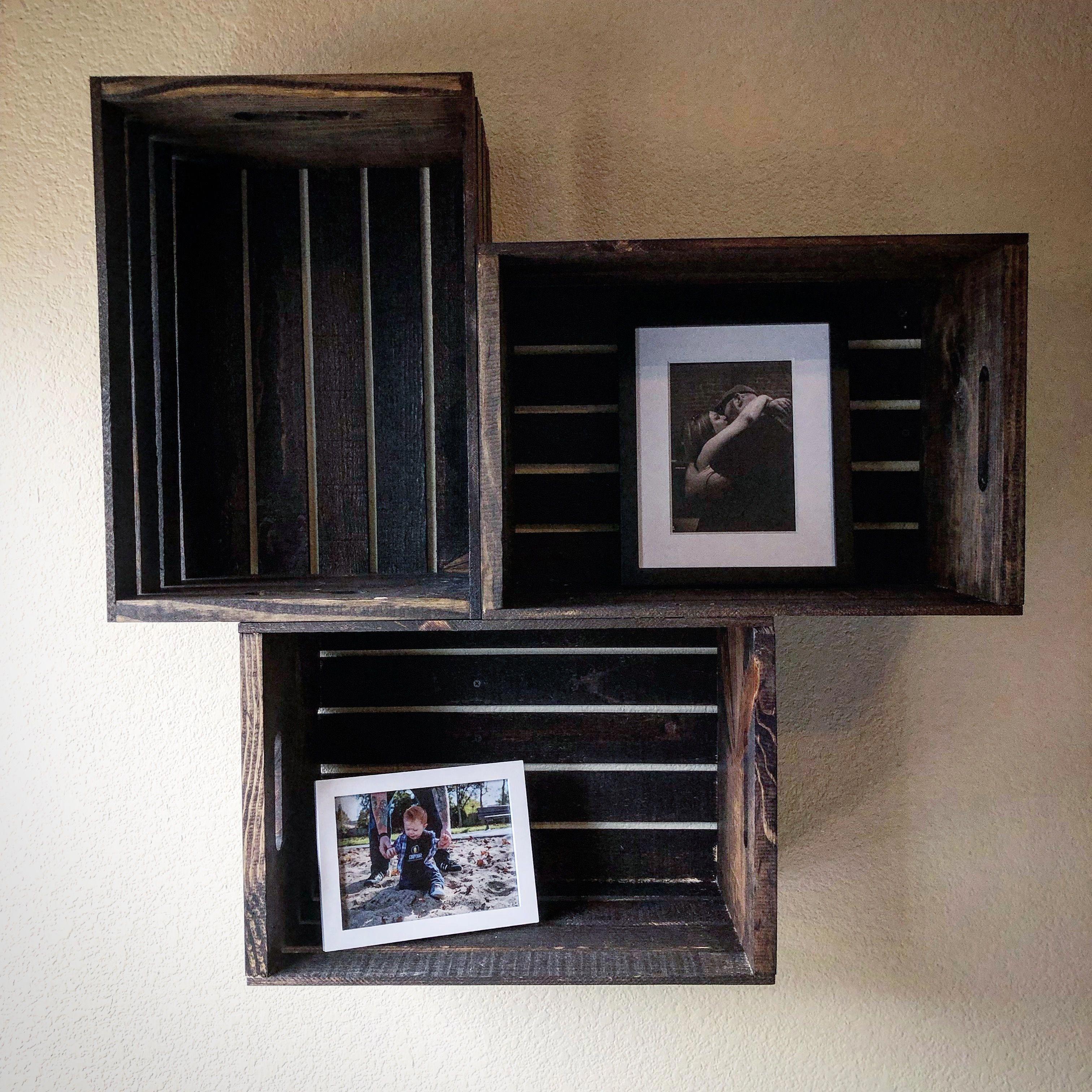 Pin On Wooden Crates Bookshelf
