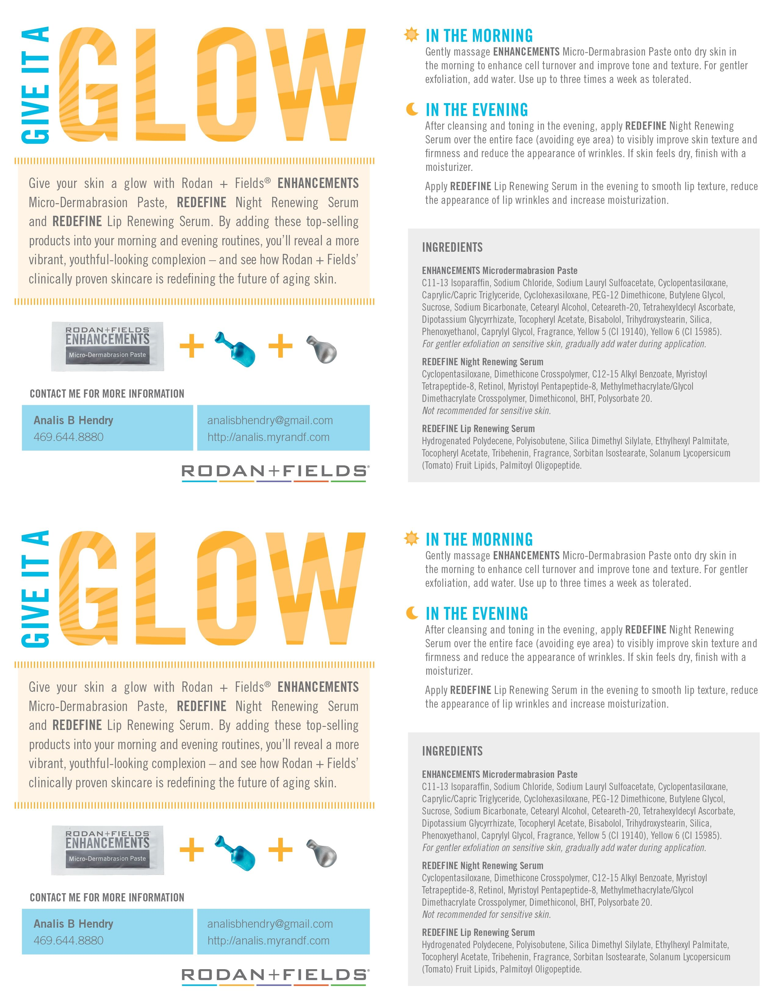 Give it a Glow Sample packets now available! Just give me a