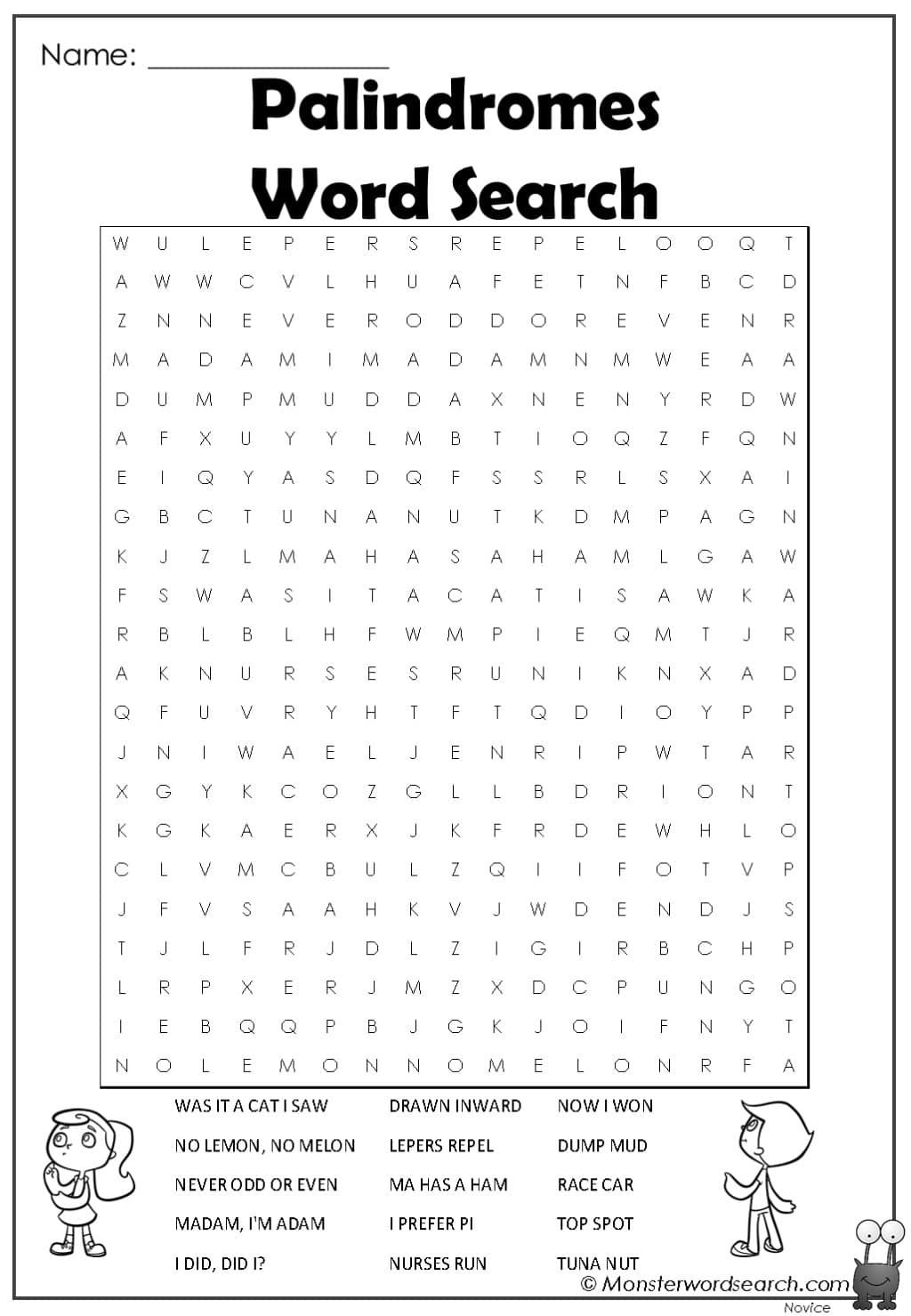 Palindromes Word Search In